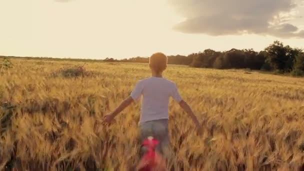 Junge rennt bei Sonnenuntergang durch ein Weizenfeld