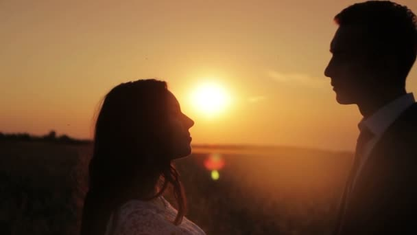 silhouette of a young beautiful couple bride and groom at sunset gently kissing and hugging each other a warm summer evening in a wheat field