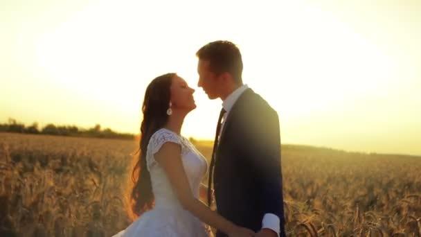 Krásný mladý pár ženich a nevěsta ve svatební šaty v západu slunce líbání v pšeničné pole drží za ruce