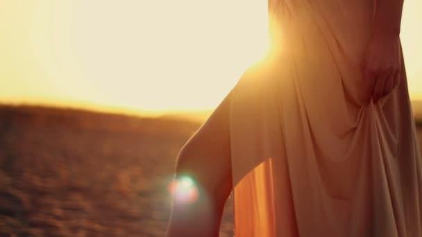 A négy henger fiatal szexi gyönyörű lány, hosszú haj, egy gyönyörű ruhát sétál a tengerparton napnyugtakor ruha csomag alakul ki a szél