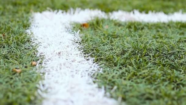 Detailní záběr mimo hranice linie na trávníku fotbalového hřiště