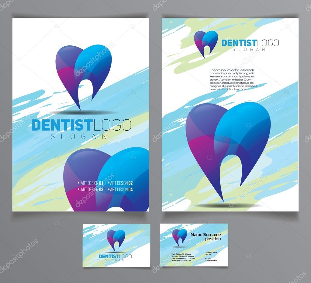 plantillas de carteles y tarjetas de dentista — Vector de stock ...