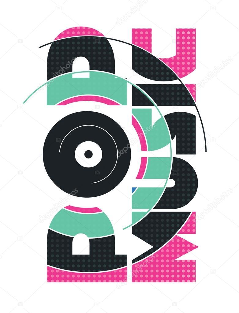 Música pop retrô logotipo — Vetor de Stock