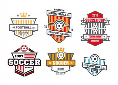 Badges logos for football teams and tournaments