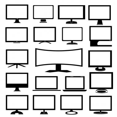 Set of modern monitors, on a white background