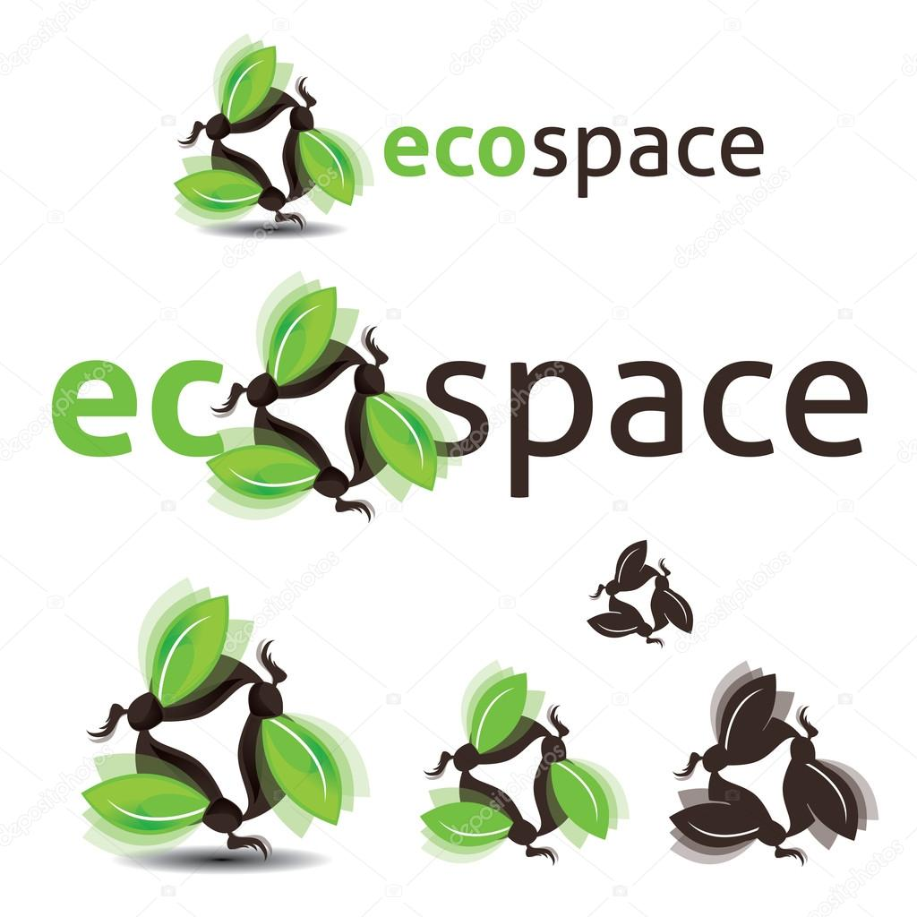 Logo set on the ecological nature theme