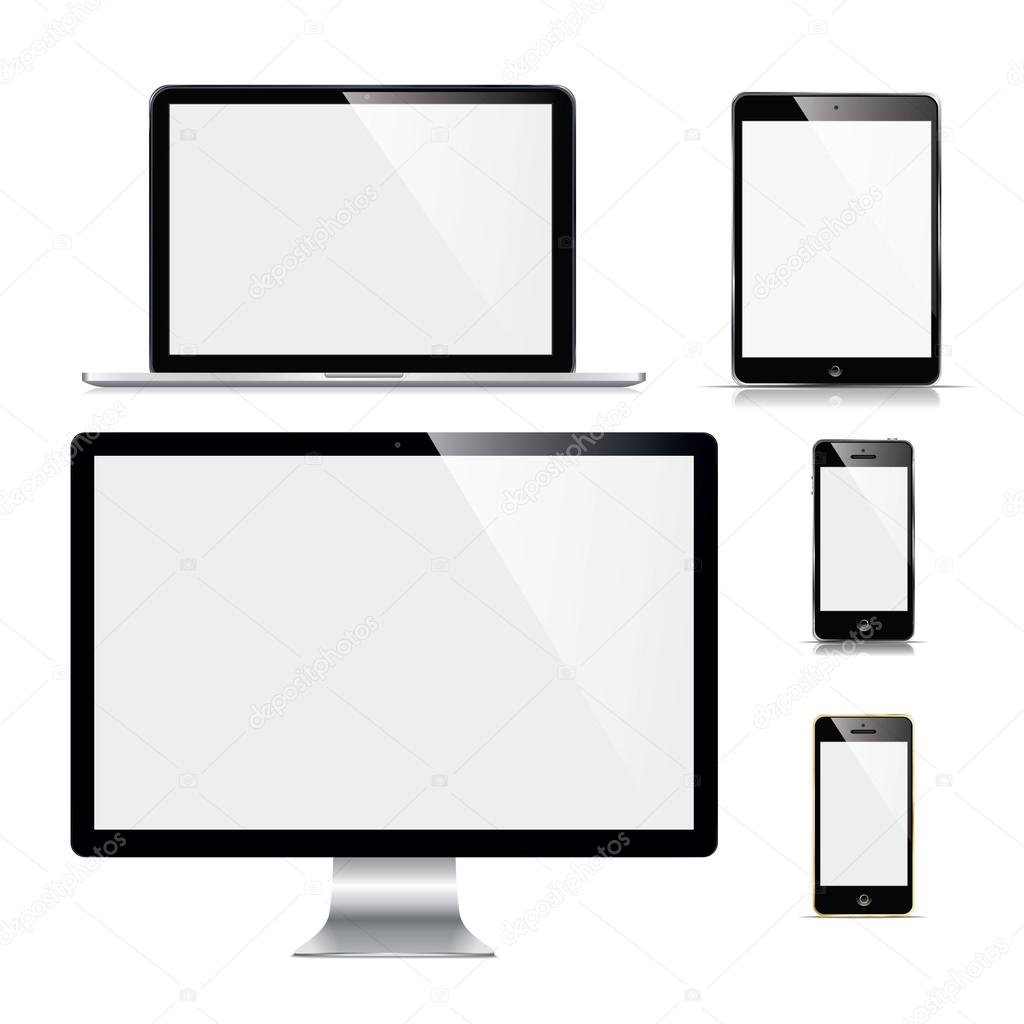 Modern electronc gadgets on a white background