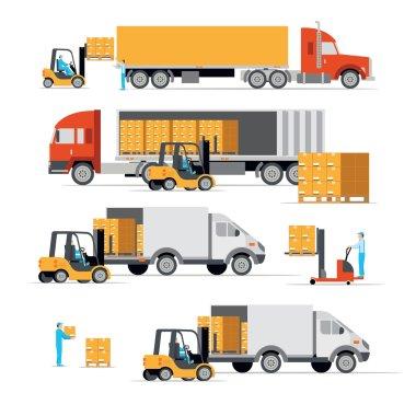 transportation, cargo machines, logistic set