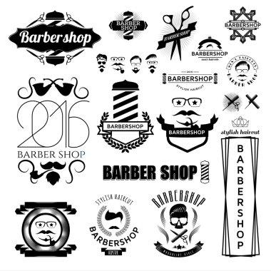 Set of hipster barbershop logo