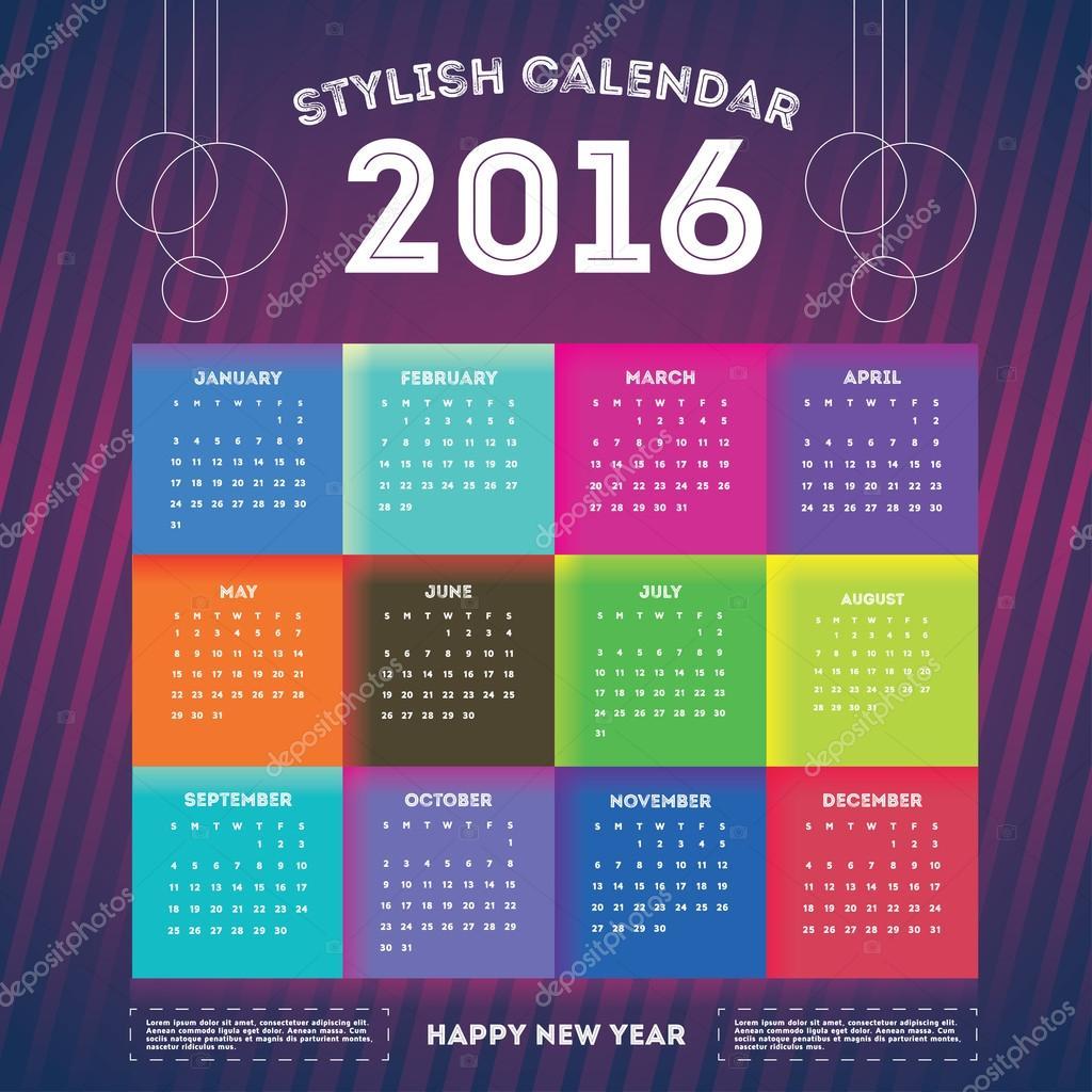 2016 Jahr Kalendervorlage — Stockvektor © artemon91 #87231740