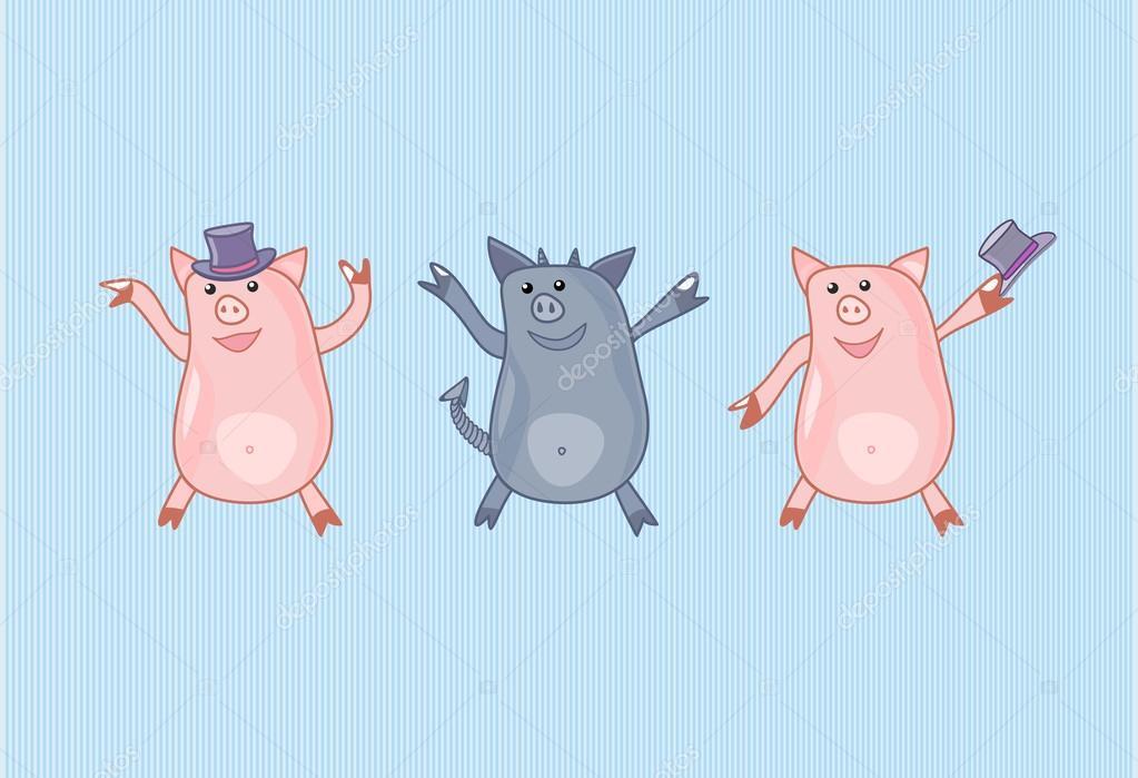 Открытка танцующая свинка, прощании