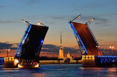 Peter and Paul fortress in the target separated Palace bridge on Neva river in Saint Petersburg during the white nights against the red sunset.