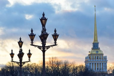 The lights of the Palace square against the background of Admira