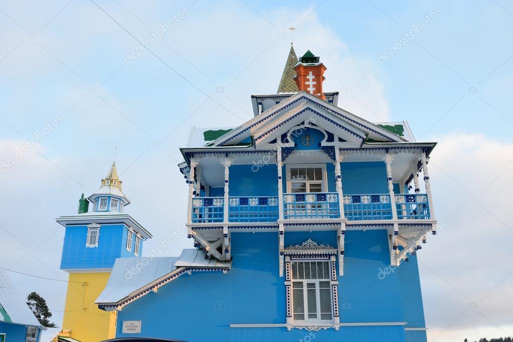 The balcony of the veranda a white-blue color