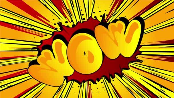 Wow Comicbuchwort. Retro Cartoon Popup Stil Ausdrücke. Farbige Comic-Blasen und Speed Radial Linie. Animation auf Doodle-Hintergrund.