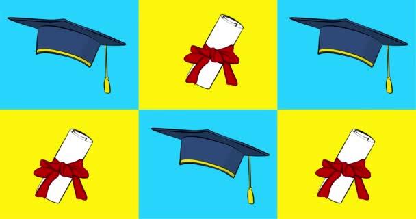 4k animovaný karikatura s komiksovým stylu maturitní čepice a diplom. Vzdělání, záběry z konce školního roku. Pozdrav, příspěvky na sociálních sítích a plakáty.