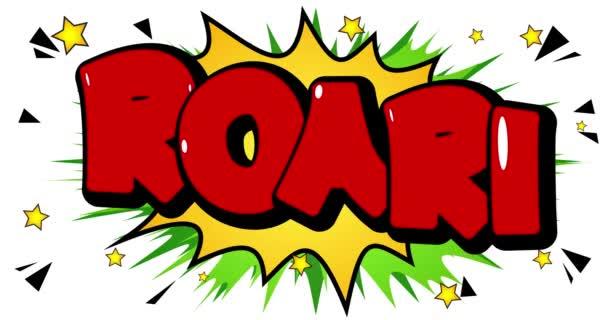 4k animiertes Brüllen! Comic Word Footage mit buntem Hintergrund. Icon für Webseiten, Grußkarten, Posts in den sozialen Medien, Apps und Bewegungsplakate. Cartoon im Comicstil.