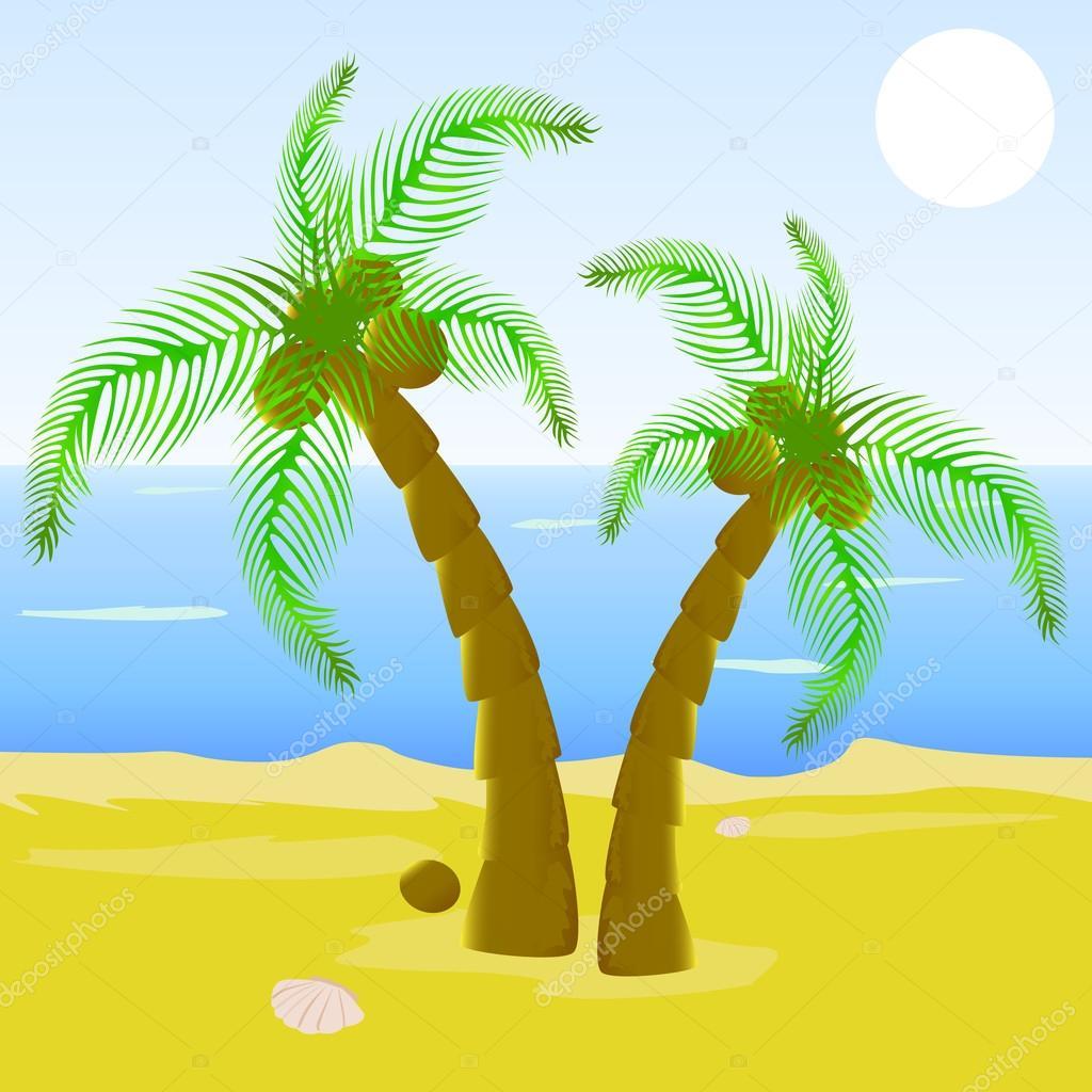 Cartone animato bella spiaggia con la palma — vettoriali