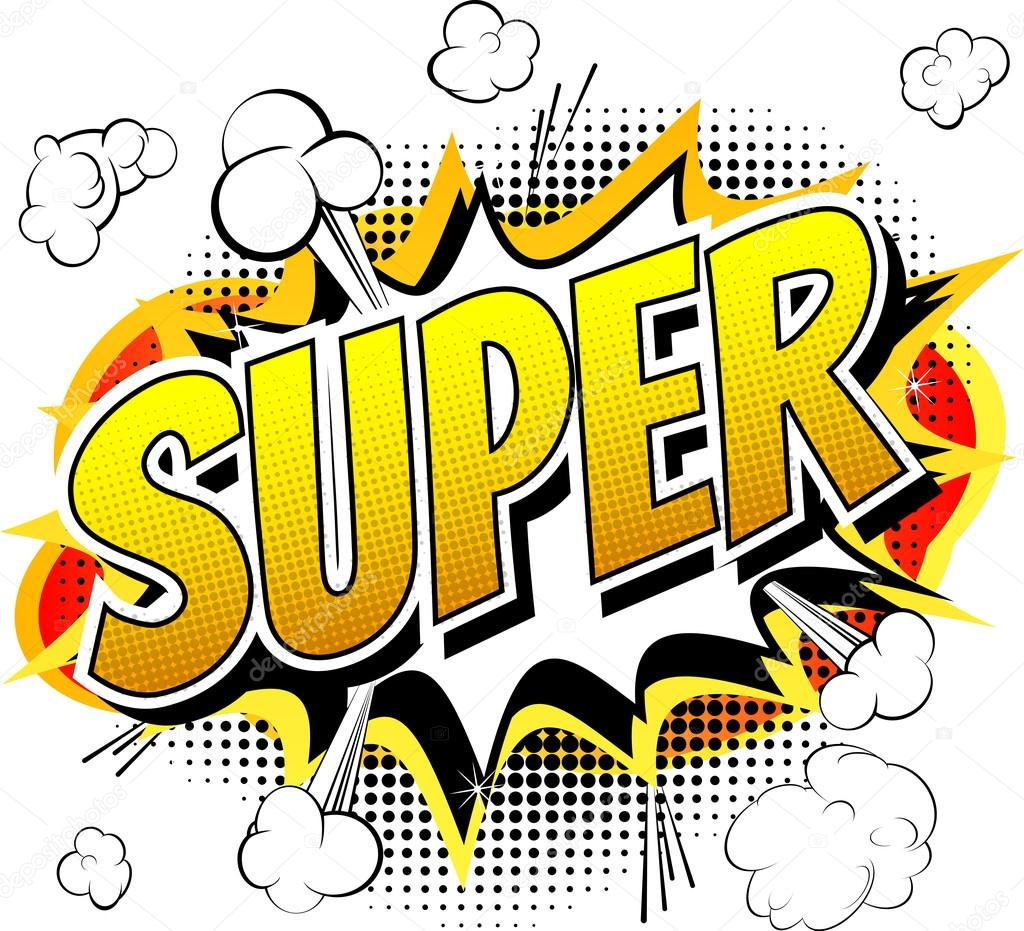 Super - Comic book style word. — Stock Vector © NoraVector #75545899