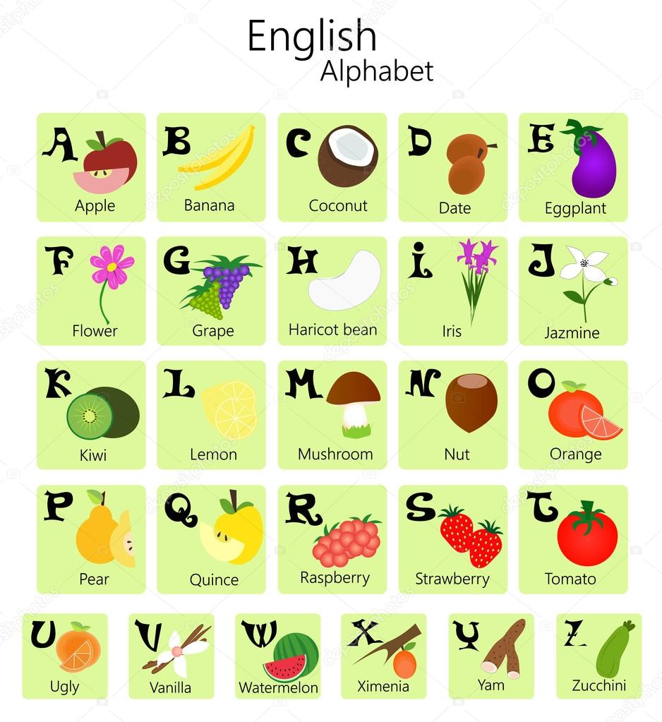 Foto Alfabeto Con Frutta E Verdura Alfabeto Inglese Con
