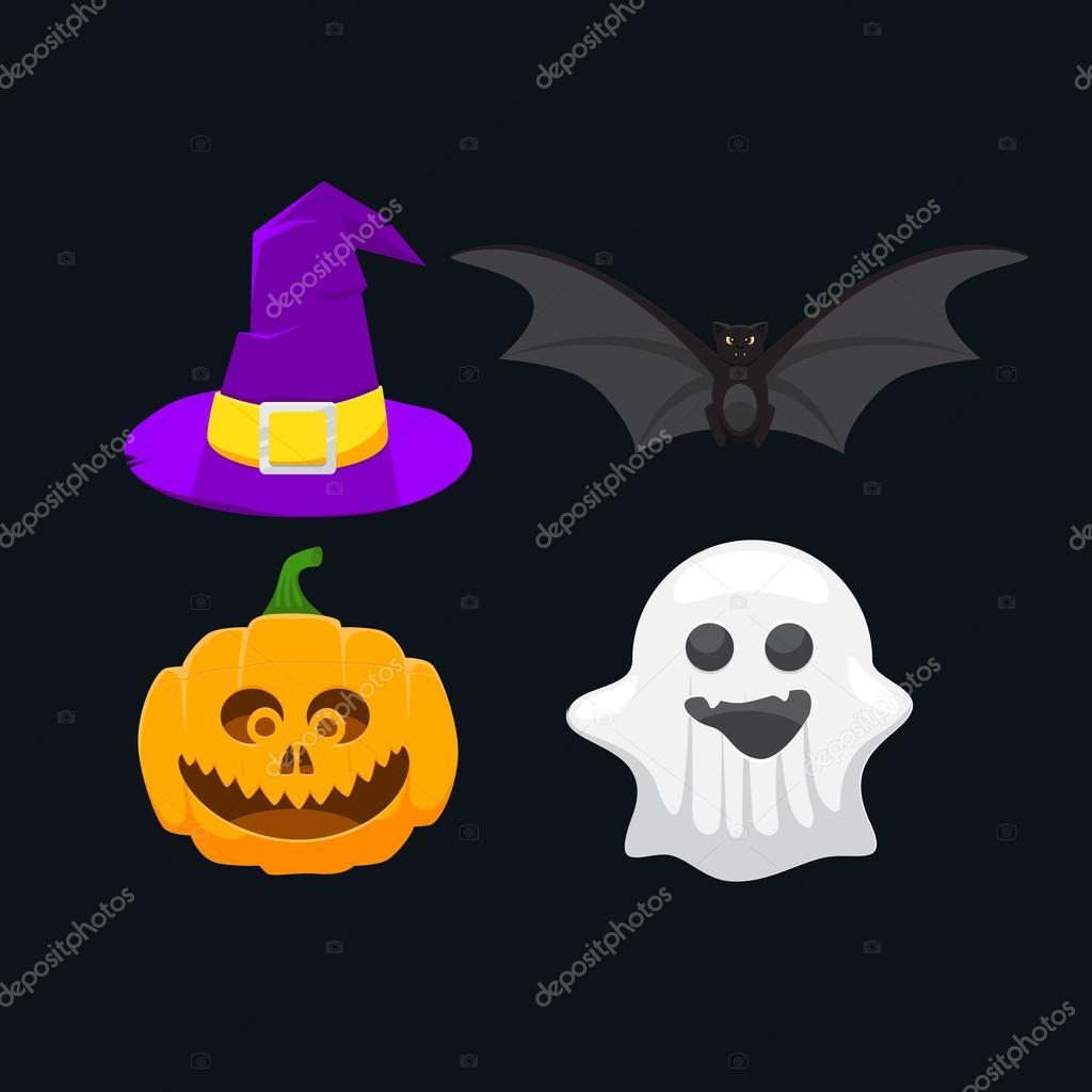 Satz Von Symbolen Fur Halloween Kurbis Gespenst Hexe Hut Und Eine