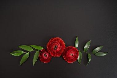 red elegant flowers at black table