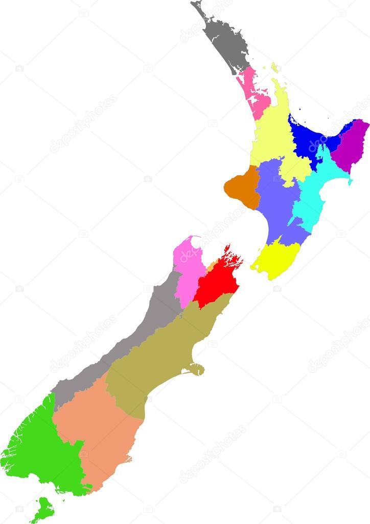 New Zealand Regions Map.New Zealand Color Map Of The Regions Stock Vector C Piszczke