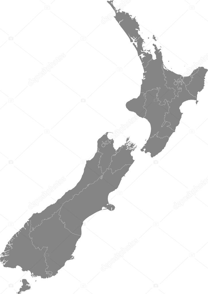 Neuseeland - Karte der Regionen — Stockvektor © piszczke ...