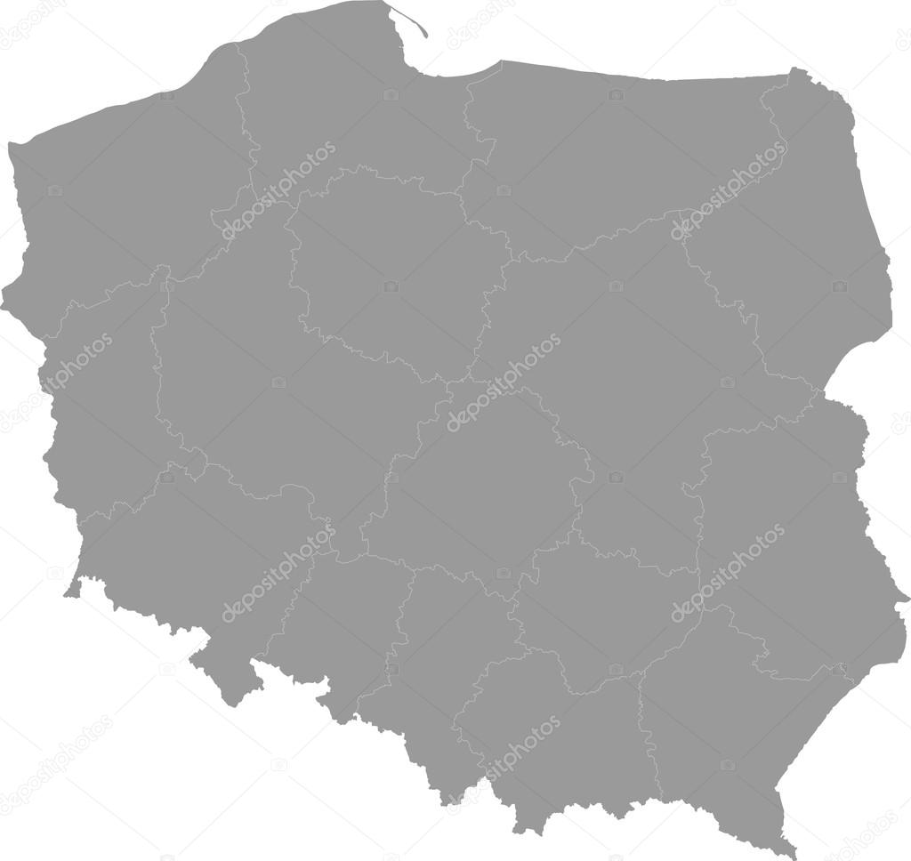 Poland map of administrative divisions Stock Vector piszczke