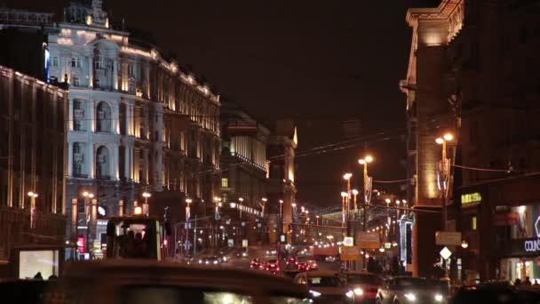 Moscow. Night. The movement of cars on Tverskaya Boulevard