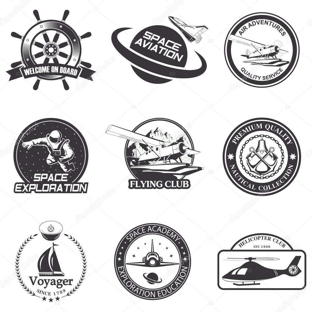 Set of vintage space, nautical, aeronautics flight  emblems