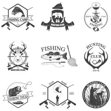 Set of vintage labels on hunting.
