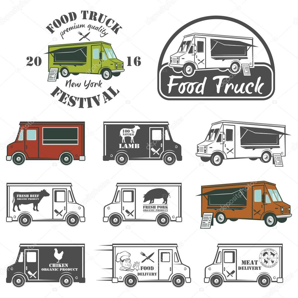 Food truck street festival emblems and logos set stock vector food truck street festival emblems and logos set stock vector biocorpaavc