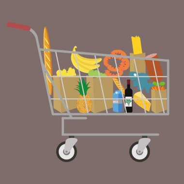 Flat design colored vector illustration of food and drink products , concept for retail. Isolated on bright background