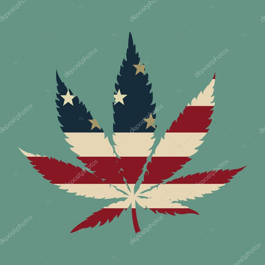 Marijuana leaf with the USA flag colors