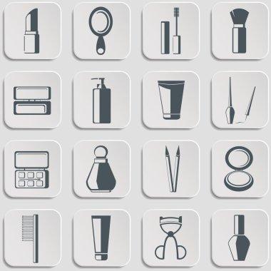 Cosmetics vector icons set on gray.