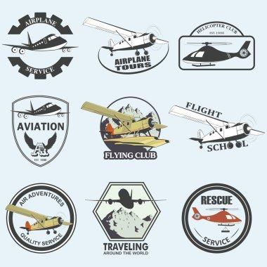 Set of vintage retro aeronautics flight badges