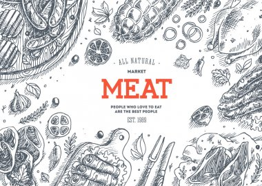 Meat market frame. Linear graphic