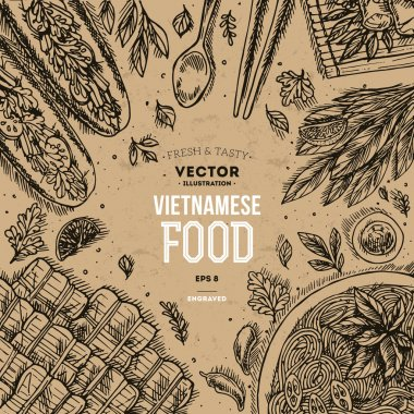 Vietnamese food. Linear graphic