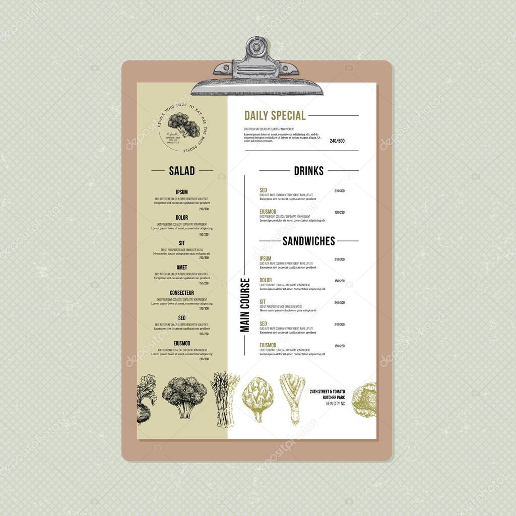 restaurant menu design template stock vector adehoidar 109242684