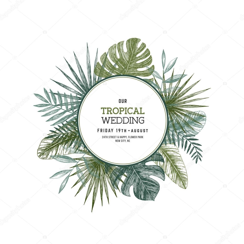 Tropical palm leaves jungle round wedding invitation stock vector jungle round wedding invitation stock vector stopboris Images