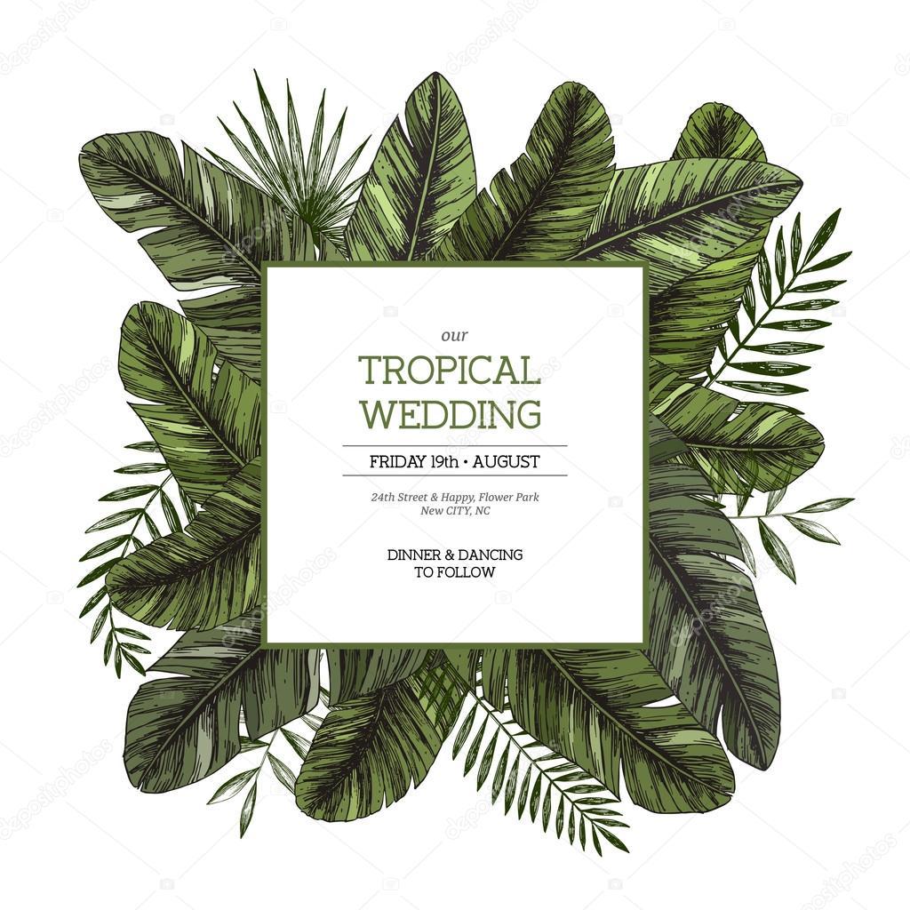 Jungle wedding invitation stock vector adehoidar 109243966 jungle wedding invitation stock vector stopboris Images