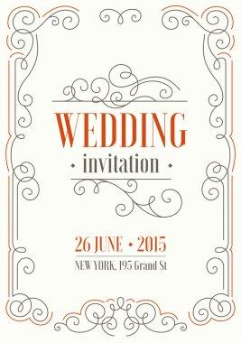 Ornamental frame Wedding invitation.