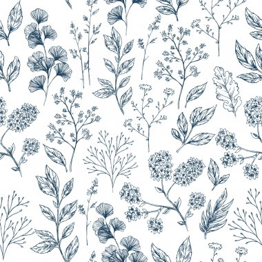 Hand drawn herb and flower seamless background. Floral pattern. Vector illustration stock vector