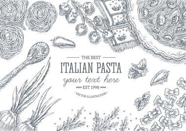 Italian pasta top view frame