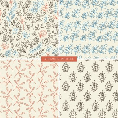 Lineart floral seamless patterns.