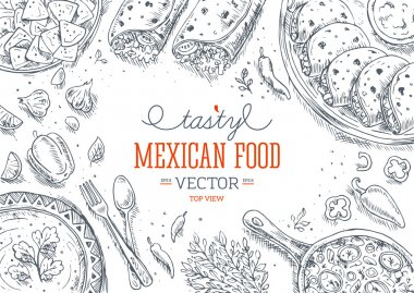 Mexican Food Frame. Linear graphic. Vector illustration stock vector