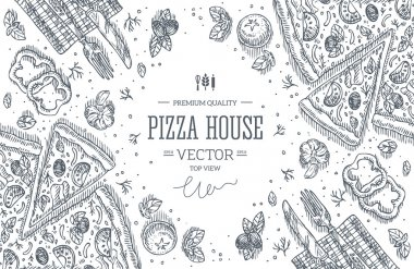 Blackboard Pizza House top view frame.Design template. Vector illustration stock vector
