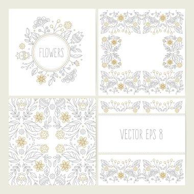 Set of lineart flower backgrounds.