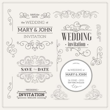 Vintage Wedding invitation design kit